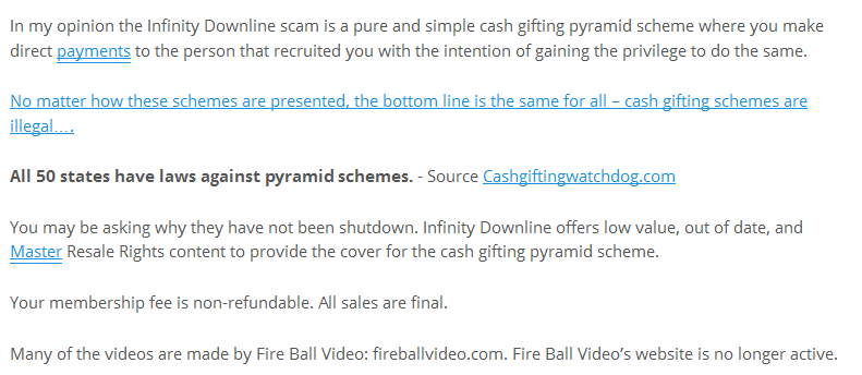 infinity downline cash gifting claim ethan vanderbuilt