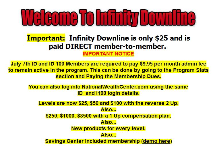 infinity downline admin fee