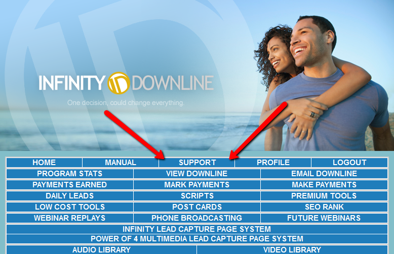 infinity downline support